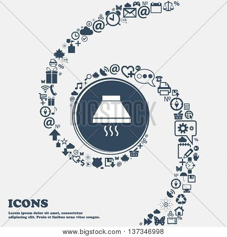 Kitchen Hood Icon Sign In The Center. Around The Many Beautiful Symbols Twisted In A Spiral. You Can