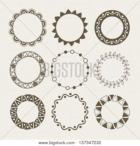 Vector set of nine different brown frames. Vector isolated illustration.
