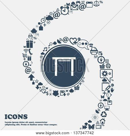 Stool Seat Icon Sign In The Center. Around The Many Beautiful Symbols Twisted In A Spiral. You Can U