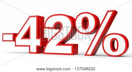 Discount 42 Percent Off. 3D Illustration On White Background.