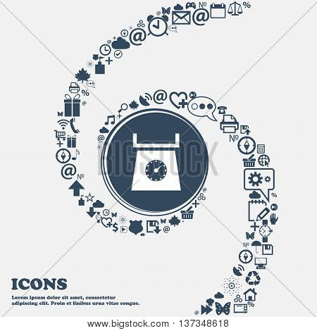 Kitchen Scales Icon Sign In The Center. Around The Many Beautiful Symbols Twisted In A Spiral. You C