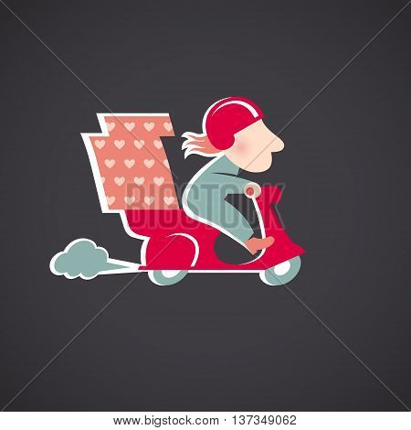 Funny pizza delivery man on red motorbike. Cartoon character in retro style.
