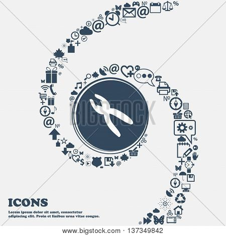 Pliers Icon Sign In The Center. Around The Many Beautiful Symbols Twisted In A Spiral. You Can Use E