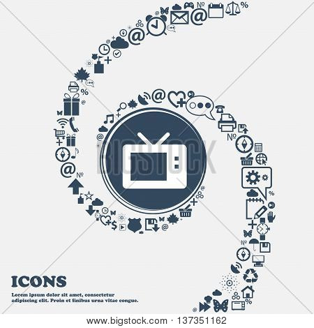 Retro Tv Mode Icon Sign In The Center. Around The Many Beautiful Symbols Twisted In A Spiral. You Ca