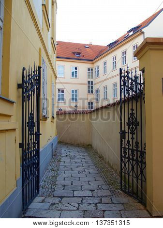 Small alleyway in historical part of Prague in Czech republic