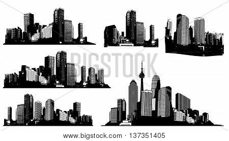 Set of black and white panorama cities. Vector art