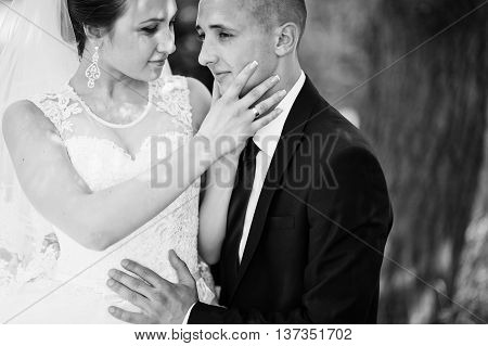 Close Up Portrait Of Bride Holding Hand On Face Groom