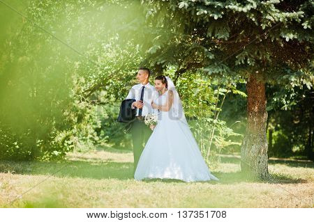 Young Happy Wedding Couple On The Green Park