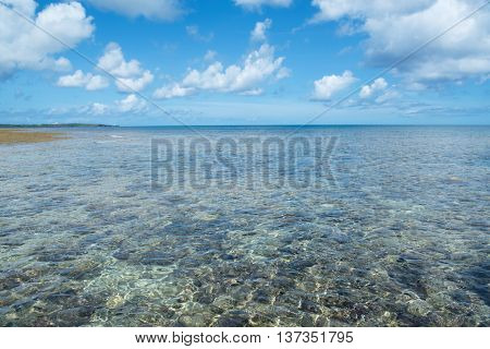 Coral reefs of Okinawa. Crystal clear waters of Okinawa ocean.