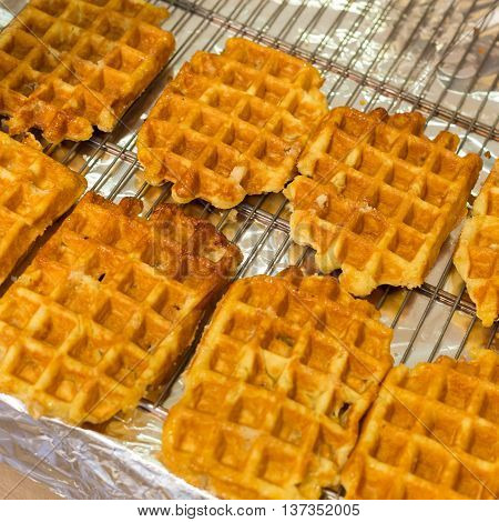 Plain traditional Belgian waffles ready to be served.