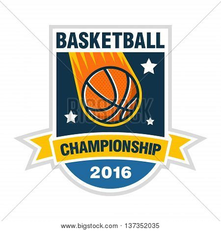 Basketball championship, tournament or team vector logo concept with a ball in the form of a space comet.