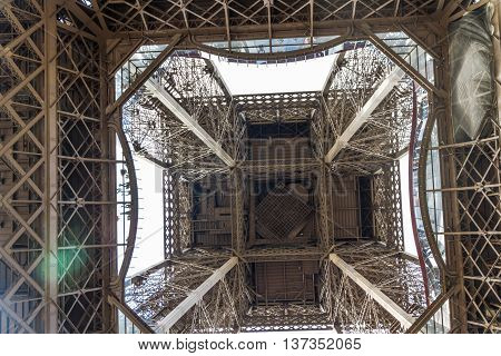 View of the Eiffel Tower from below. Paris France Europe.