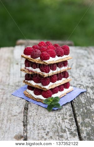 bread with curd cheese and fresh raspberries. fruit sandwich