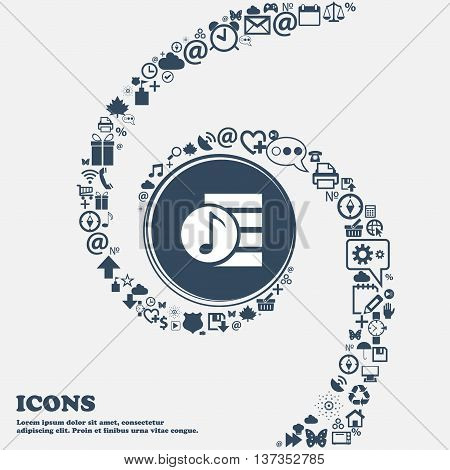 Audio, Mp3 File Icon Sign In The Center. Around The Many Beautiful Symbols Twisted In A Spiral. You