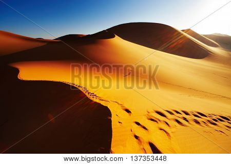 Sand dune with footprints at sunrise, Sahara Desert, Algeria