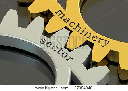 machinery sector concept on the gearwheels 3D rendering