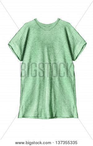 Green oversize tunic isolated on white background