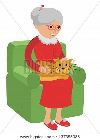 Happy senior woman sitting on the sofa with red cat and rest.