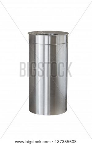 trash made of stainless steel isolated on white background