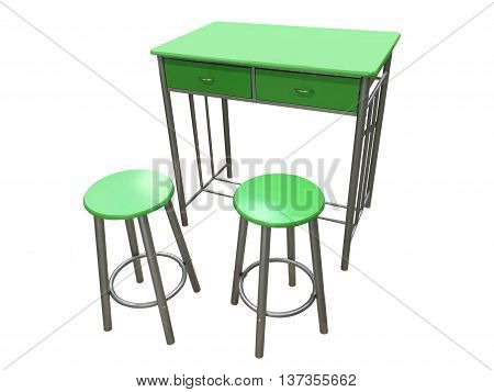 green kitchen table with stools isolated on white background