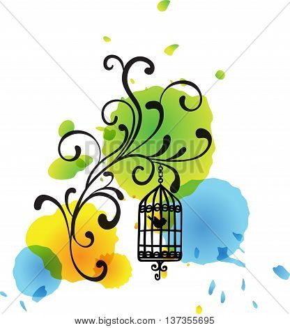Scalable vectorial image representing a  floral bird cage watercolor spots background, isolated on white.