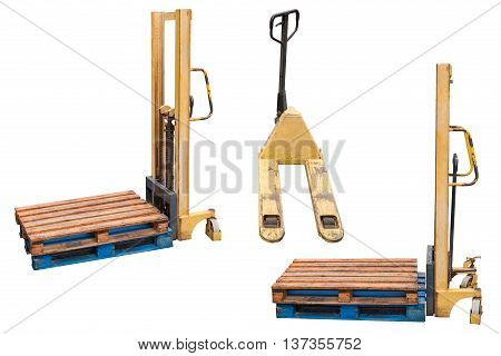 wooden pallets on manual lifts isolated on white background