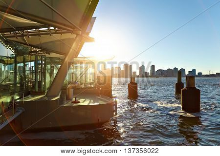 View of the Hudson River from the pier NY