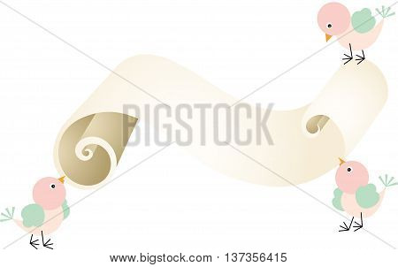 Scalable vectorial image representing a three birds with parchment, isolated on white.