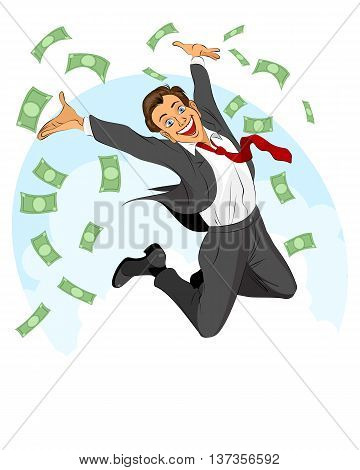 Vector illustration of a glad businessman jumping