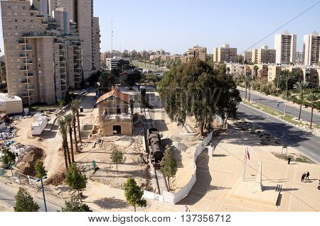 BEER SHEVA ISRAEL - JANUARY 26 2013: Reconstruction of the old Turkish railway station Ataturk Square in Beer Sheva top view