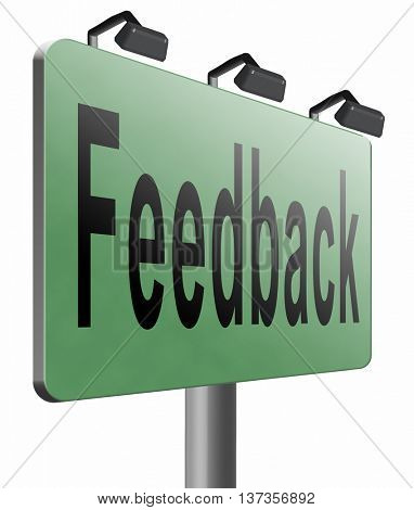 feedback or testimonials or comments for improvement and customer satisfaction, 3D illustration isolated on white