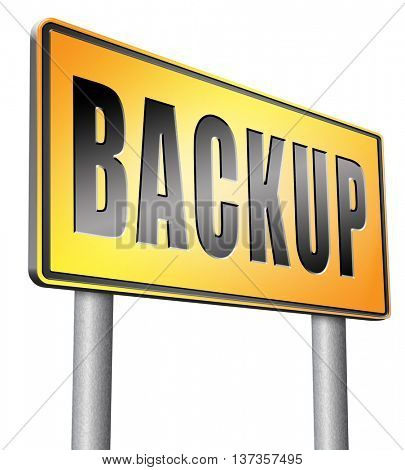 Backup data and software on copy in the cloud on a harddrive disk on a computer or server for files security. Data archiving and file transfer. 3D illustration, isolated,on white