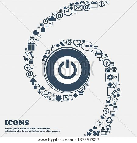 Power, Switch On, Turn On Icon Sign In The Center. Around The Many Beautiful Symbols Twisted In A Sp