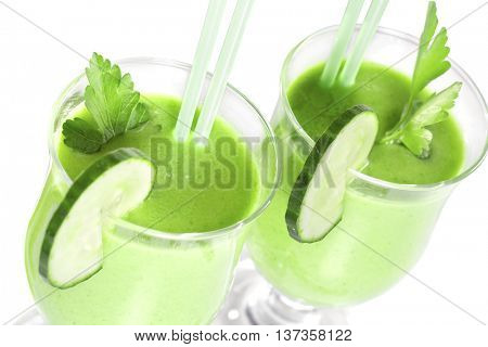 Delicious vegetable smoothie from green vegetables