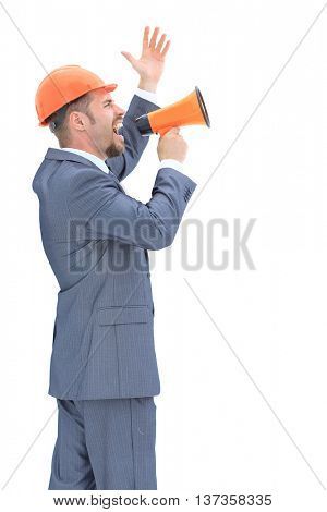 Full isolated portrait of the confident engeneer shouting with a megaphone