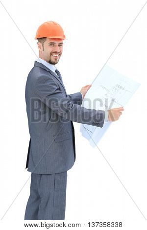 Confident architect in formalwear smiling isolated on white baskground