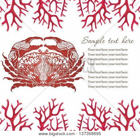 Cute crab. Seafood emblem template. Vector illustration with crab