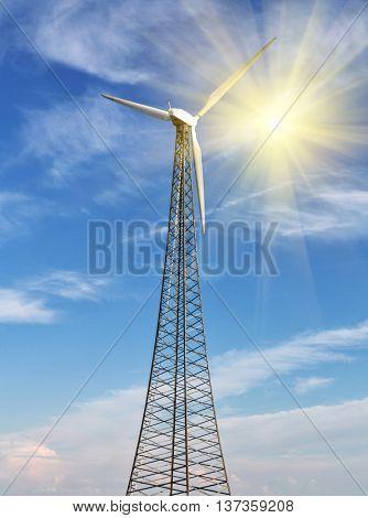 wind power generator on blue sky background