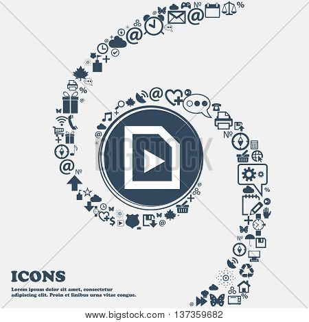 Play Icon Sign In The Center. Around The Many Beautiful Symbols Twisted In A Spiral. You Can Use Eac