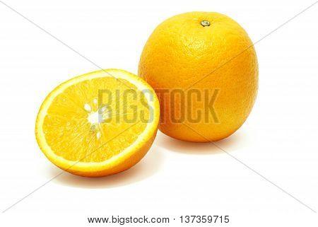 Isolated Orange and Half on White Background