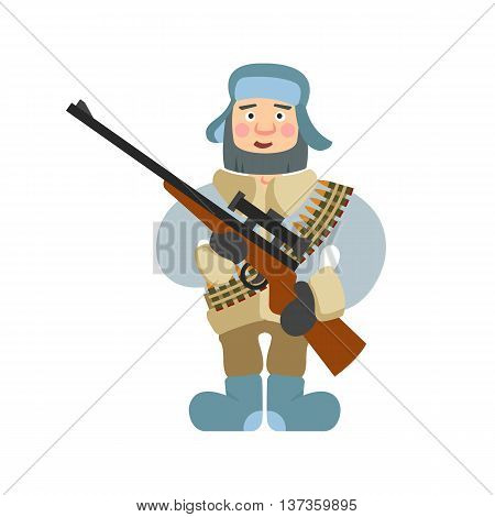 Illustration Of Sniper With Rifle