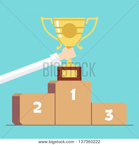 Award in hand on the background of the pedestal . Cartoon vector illustration