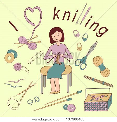 Flat vector illustration of a girl loves knitting. Accessories for crafts: knitting needles crochet hooks yarn pins buttons scissors basket for needlework.