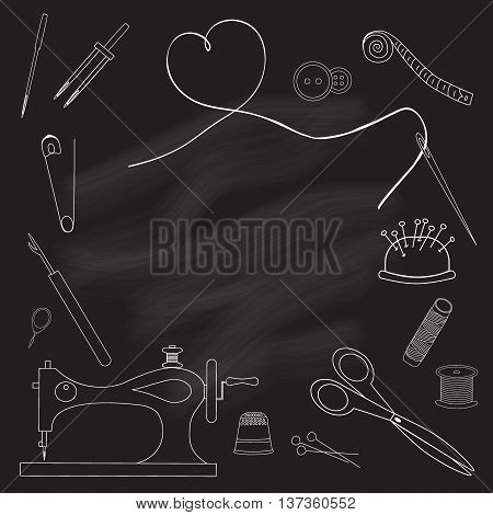 Frame tool for embroidery drawn in chalk on a blackboard. The sewing machine scissors needle thread needle bar pin thimble bobbin buttons and other accessories. White on black. Vector illustration.