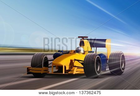 yellow race car on speed track - motion blur
