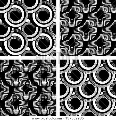Seamless patterns with spiral elements. Graphic textures set. Vector art.