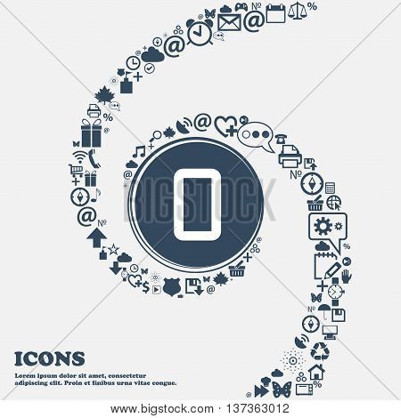 Number Zero Icon Sign In The Center. Around The Many Beautiful Symbols Twisted In A Spiral. You Can