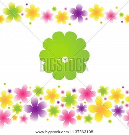 Bright floral seamless pattern on light background. Vector background. Spring border. Place for text. It can be used for decorating of invitations cards wallpaper pattern fills web page surface textures.
