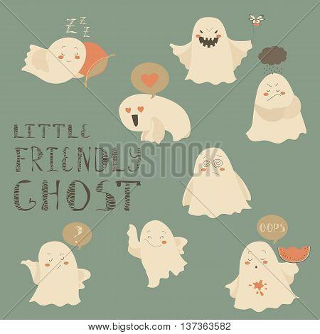 Little friendly hosts emoticon halloween set. Vector collection