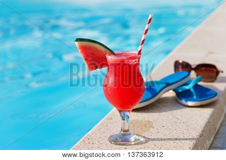 Water Melon Red Fresh Juice Smoothie Drink Cocktail Slippers And